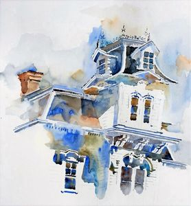 architecture wood watercolors art tanvi buch los altos bay area silicon valley south bay
