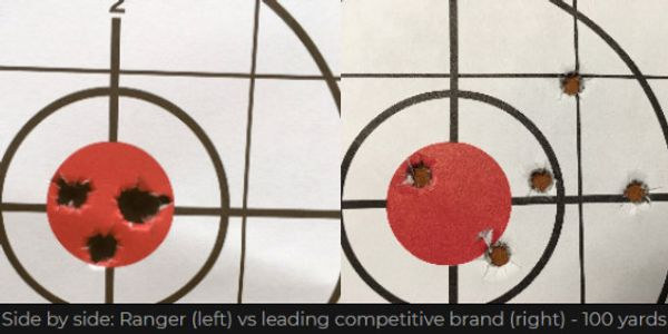 Side by side - Ranger vs a leading brand at 100 yards.