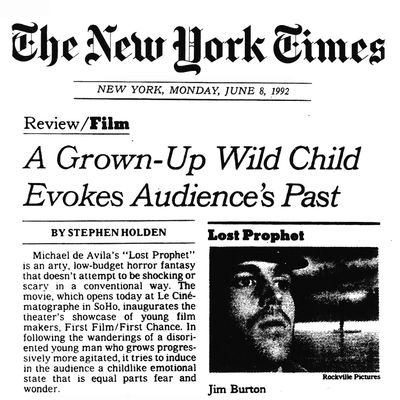 """Lost Prophet"" film review by Stephen Holden of the New York Times. Published June 8, 1992."