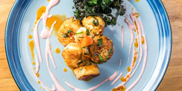 Seared Scallops with Crispy Kale