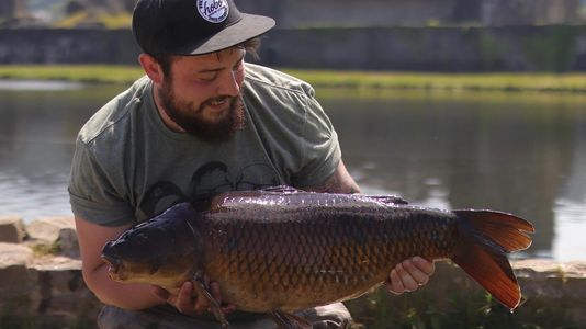 Tom Jehu, ClubCarp team member with a stunning Welsh castle commomn carp