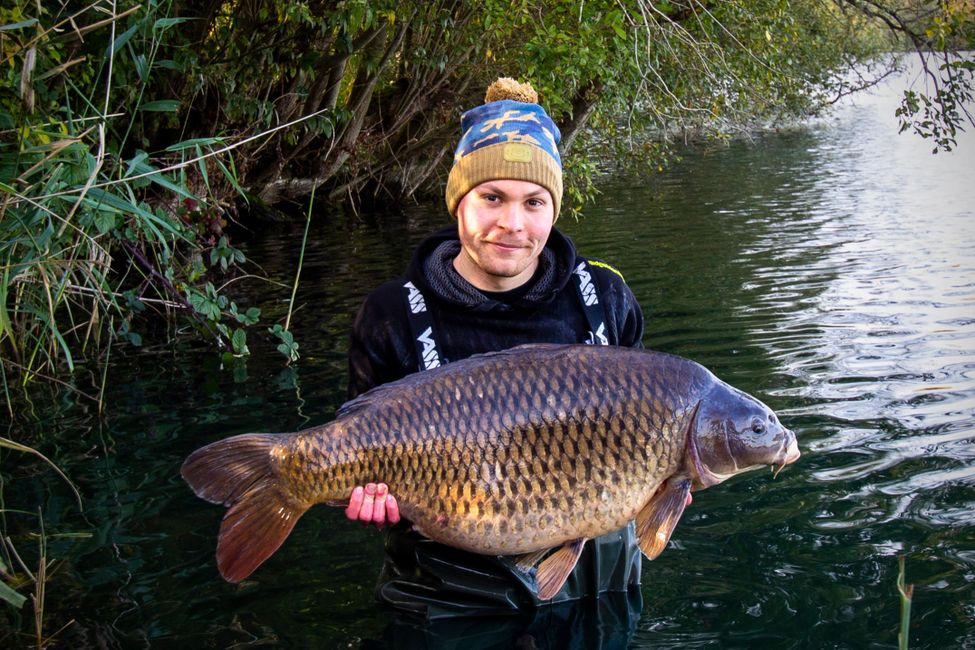 Alex Peters ClubCarp team member with a big common carp