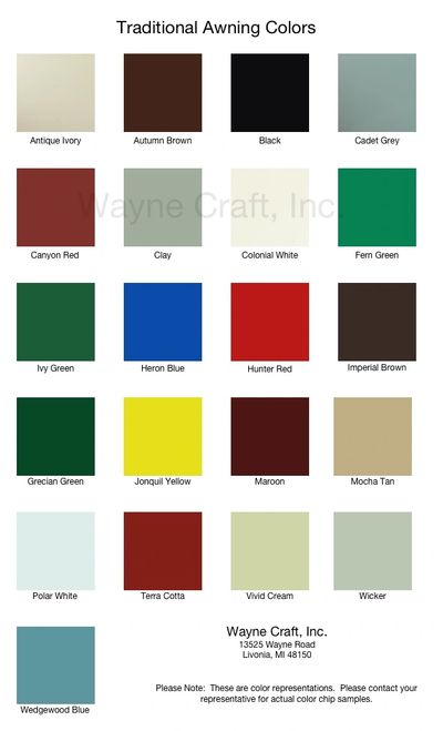 Awning colors.  Color awnings.  Detroit awning.  Livonia awning.  Northville Awning.  Canton Awning.