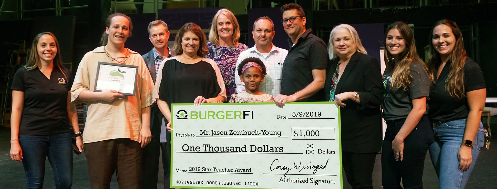 Burger-Fi Star Teacher of the Year, wi/ Principal Henschel & SBBC Board Member Laurie Rich Levinson.