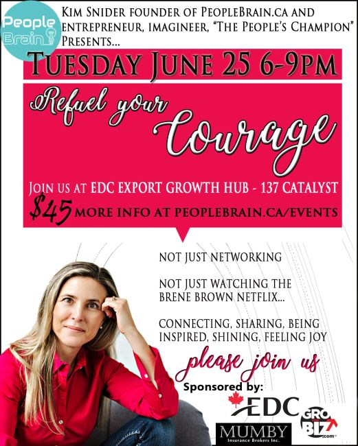 Poster of invitation to Refuel your Courage Picture of Kim Snider