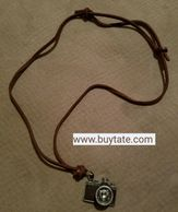 Antique camera charm pendant necklace, crystal necklace, leather charm,