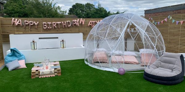 stargazer, where you sleep under the stars, a beautiful clear span dome for the garden. like a igloo
