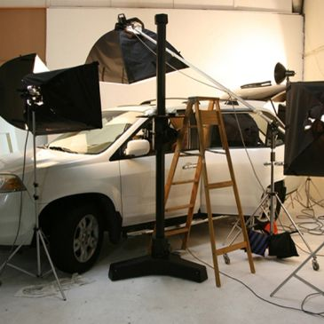 Photo studio with car inside