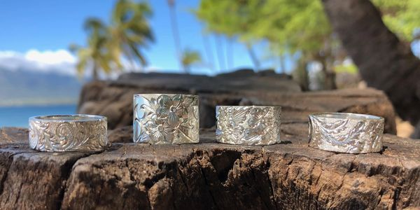 Variety of custom designed Hawaiian Heirloom rings