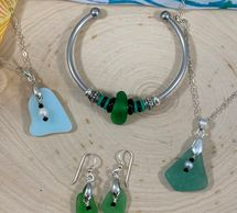 genuine sea glass necklaces, eating and bracelets.