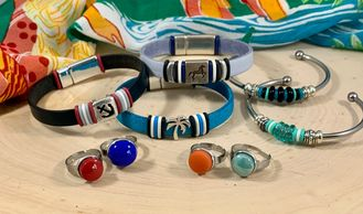 Italian leather bracelets, stainless steel adjustable rings and Czech pressed glass stainless bangle