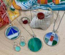 Fused glass and mosaic jewelry hand crafted and hand cut for necklaces, rings, earrings, sailboats l