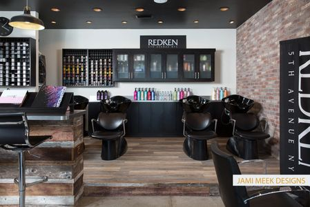 Hair Salon Remodel Industrial Rustic Style Brick Wall Barn Wood