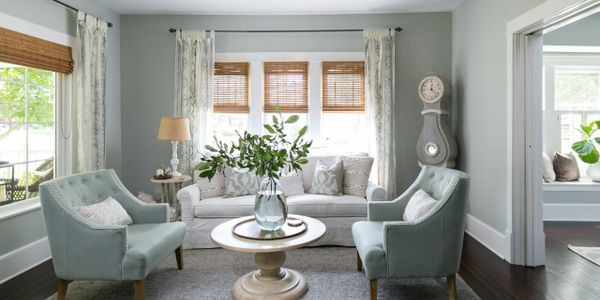 Living Room Remodel Blue Paint Colors Natural Woven Shades