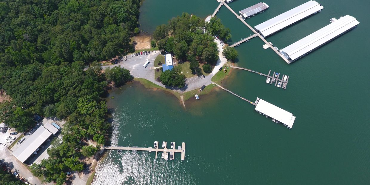 Overhead image of Clemson Marina on Lake Hartwell in Seneca, SC