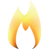 Orange flame logo for one-match-fire.com graphic design & communications headed up by Anine Vonkeman