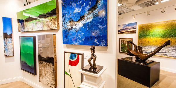 Art Gallery, oil paintings, bronze sculpture, mosaic
