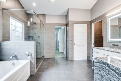 Modern European Tile bathroom