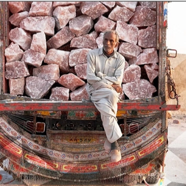 Huge salt chunks in truck ready to be imported from Pakistan