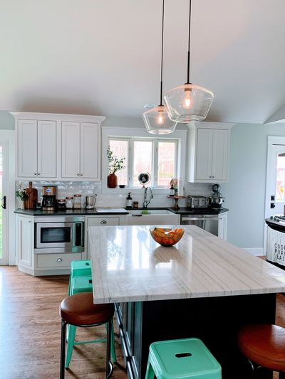 Everything is within reach in this L-shaped kitchen. Kitchen remodeling renovation