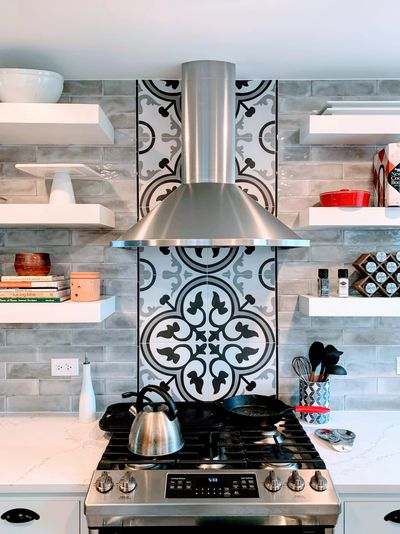 Arte grey encaustic porcelain backsplash in kitchen renovation in Arlington Heights