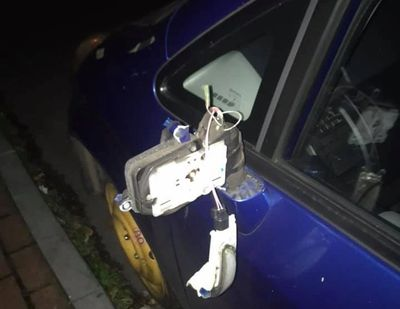 Damage to a car in New Ferry on Mischief Night, 2019