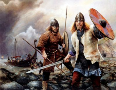 "Painting of ""Vikings Arrive"" by Chris Collingwood"