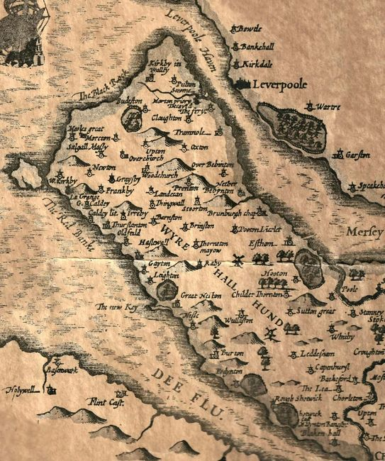Map of Wirral in 1611
