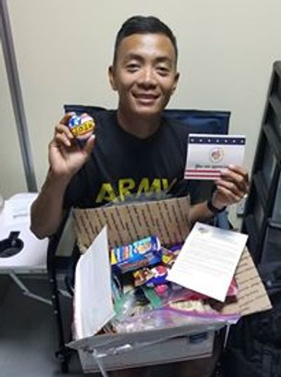 Soldier with a J.O.S.H. care package