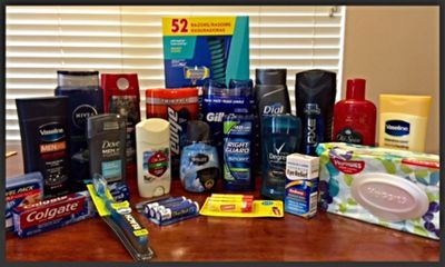 Male hygiene care package items