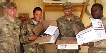 Deployed Soldiers with JOSH Care Packages
