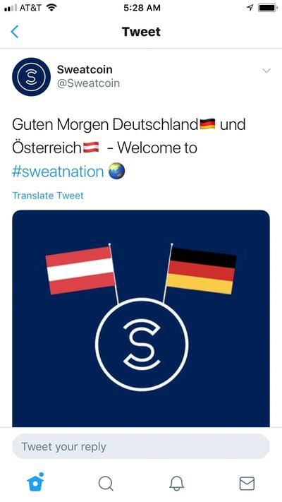 Sweatcoin is now available in Germany and Austria