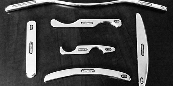 Variety of graston tools are used on different areas of the body.