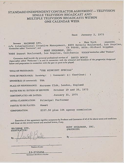 Midnight Special Contract 1975