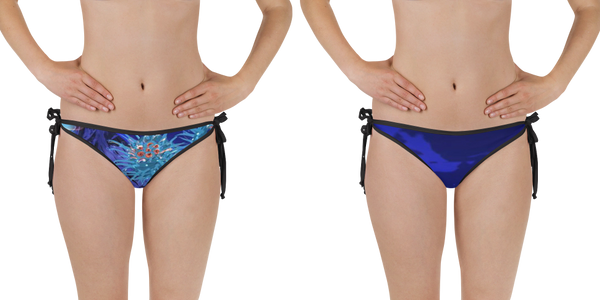 reversible two sided bikini bottoms matching Bubbles & Blues Rash Guard for women and teens
