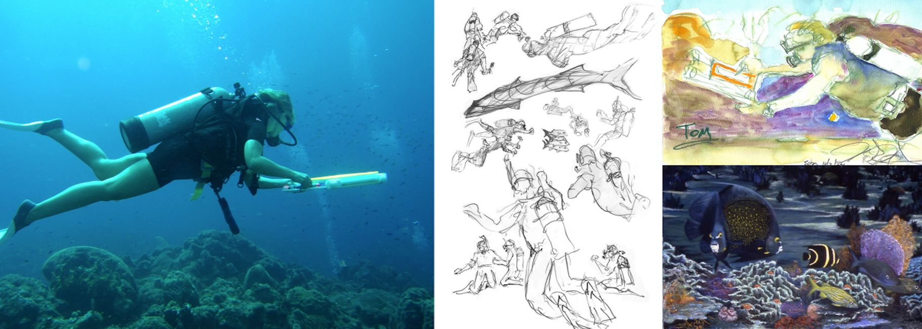 Dive Draw and Paint under water in Cozumel | Dive and Draw 2020