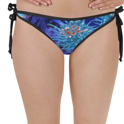 "reversible bikini bottoms two sided matching ""Bubbles & Blues"" coral rash guard for women and teens"