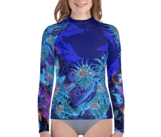 "teen girl wearing living sea sculpture design ""bubbles & blues"" by Colleen Flanigan rash guard"