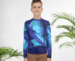 "youth wearing living sea sculpture design ""purple urchin"" rash guard by Colleen Flanigan"