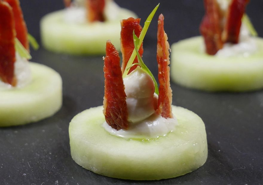 Cucumber Cups with blue cheese and bacon
