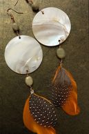 Original handmade metal wrap feather earrings, created by Berry Creative Arts