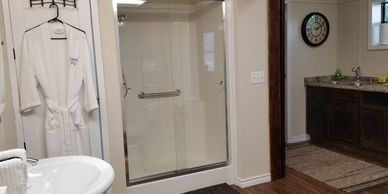 Large walk-in bath.