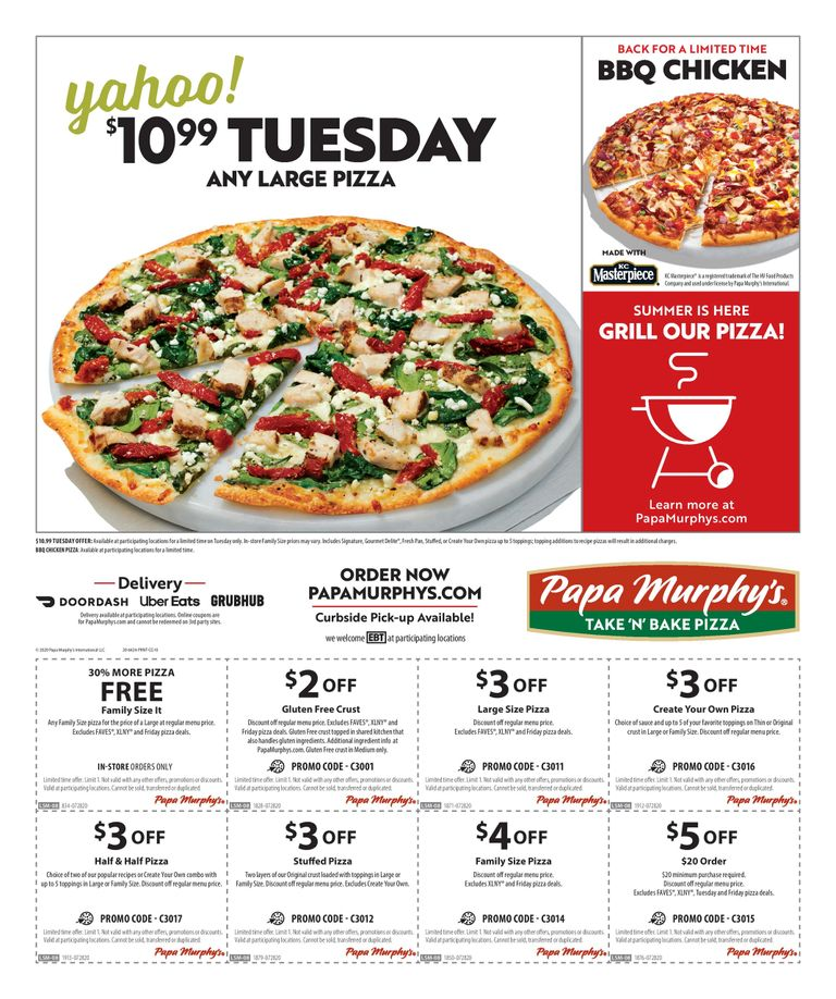 10.99 Any Large Pizza on Tuesday, BBQ Chicken pizza back for limited time, and other coupons
