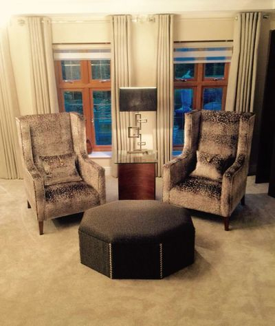 Bespoke Wingchairs and Ottoman Handcrafted at our workshop in Essex