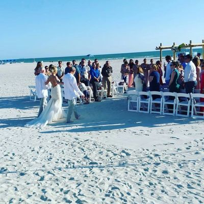 Wedding ceremony on beach. Sound system, P.A., Microphones, speakers, Weddings, clearwater beach.