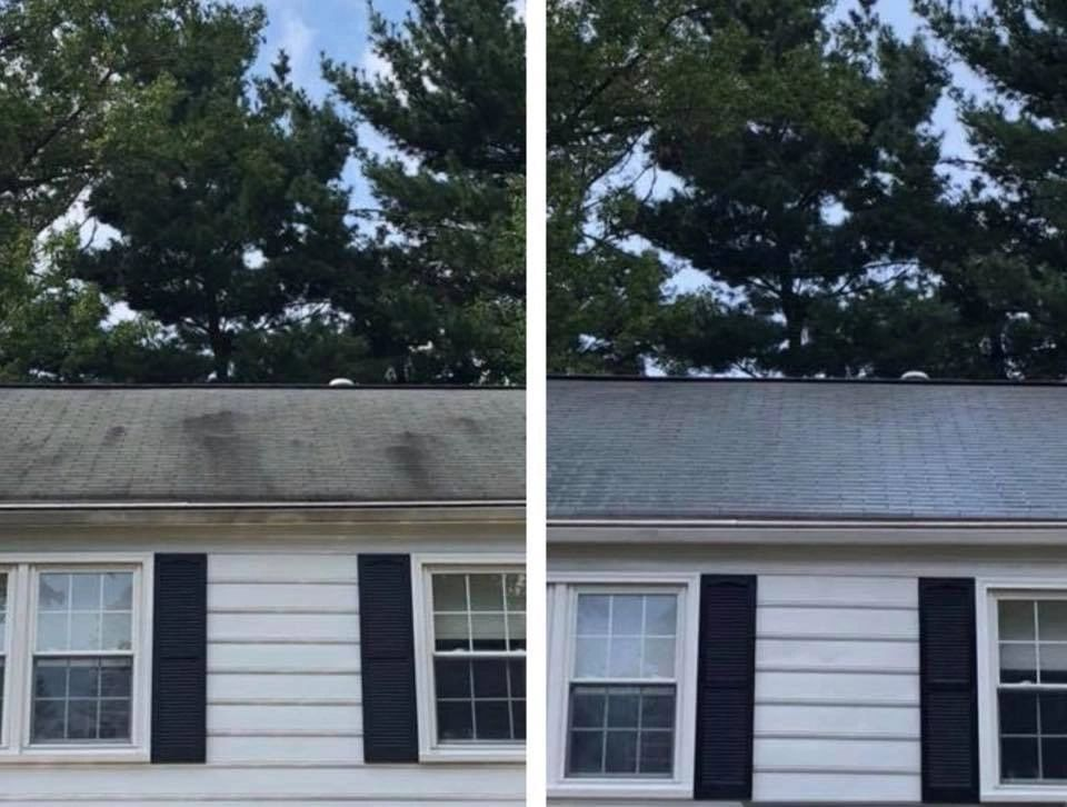 Columbia Maryland Elkridge Laurel Maryland roof cleaning power washing Softwash soft washing roof