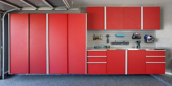 Red Powder Coated Cabinets