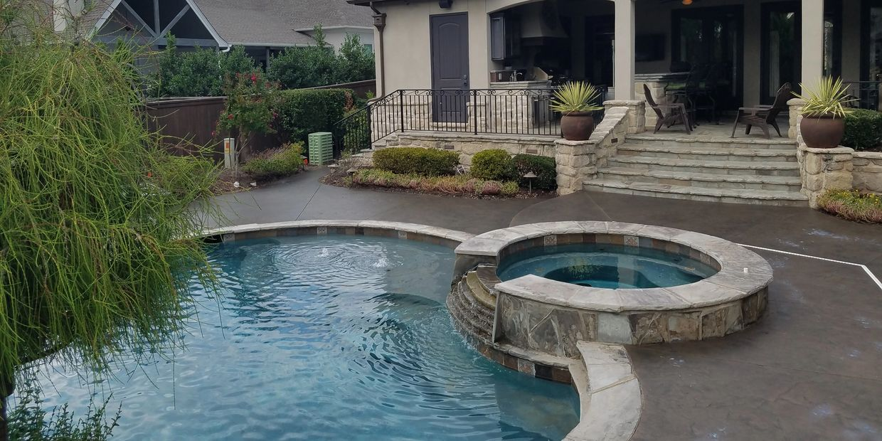pool deck, home builders, tulsa, decorative concrete, stain,