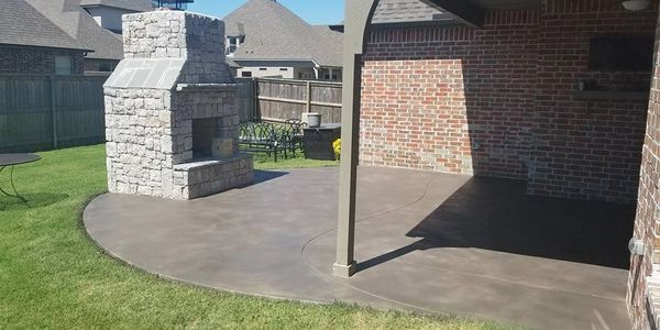 stained concrete, outdoor living, Tulsa, overlay, texture, stain,