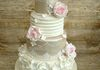 Shimmer tier and frill with sugar flowers £450